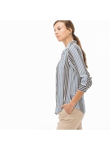 Lacoste Kadın Çizgili Gömlek CF1904.04L Mavi